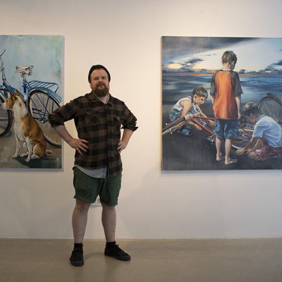 Erno Peltosen näyttely Aamusta iltaan Kangasala-talon Galleriassa kesällä 2019.
