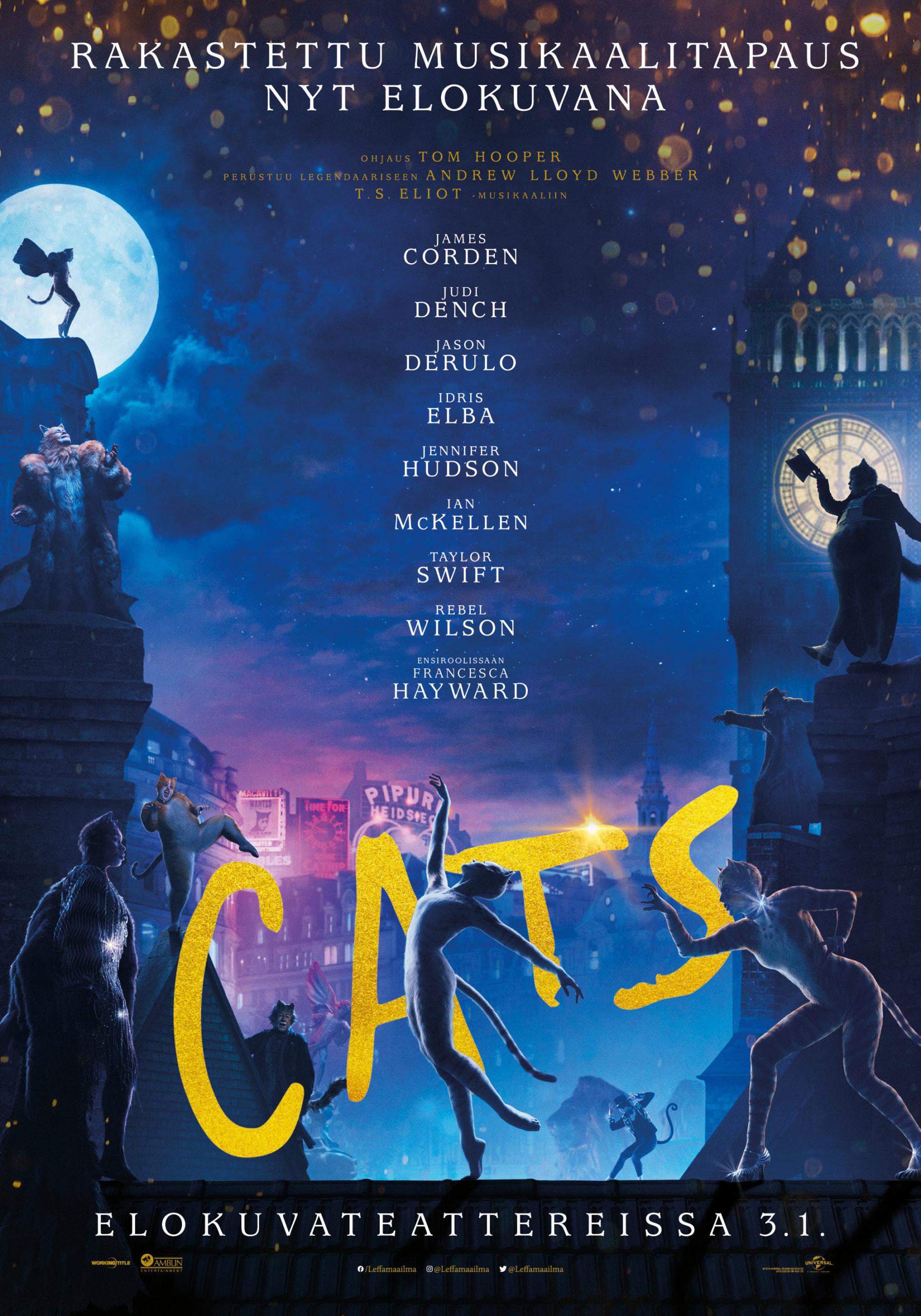 Andrew Lloyd Webberin ennätyksiä lyöneen musikaalin Cats elokuvaversio Kangasala-talon K-Kinossa tammikuussa 2020.