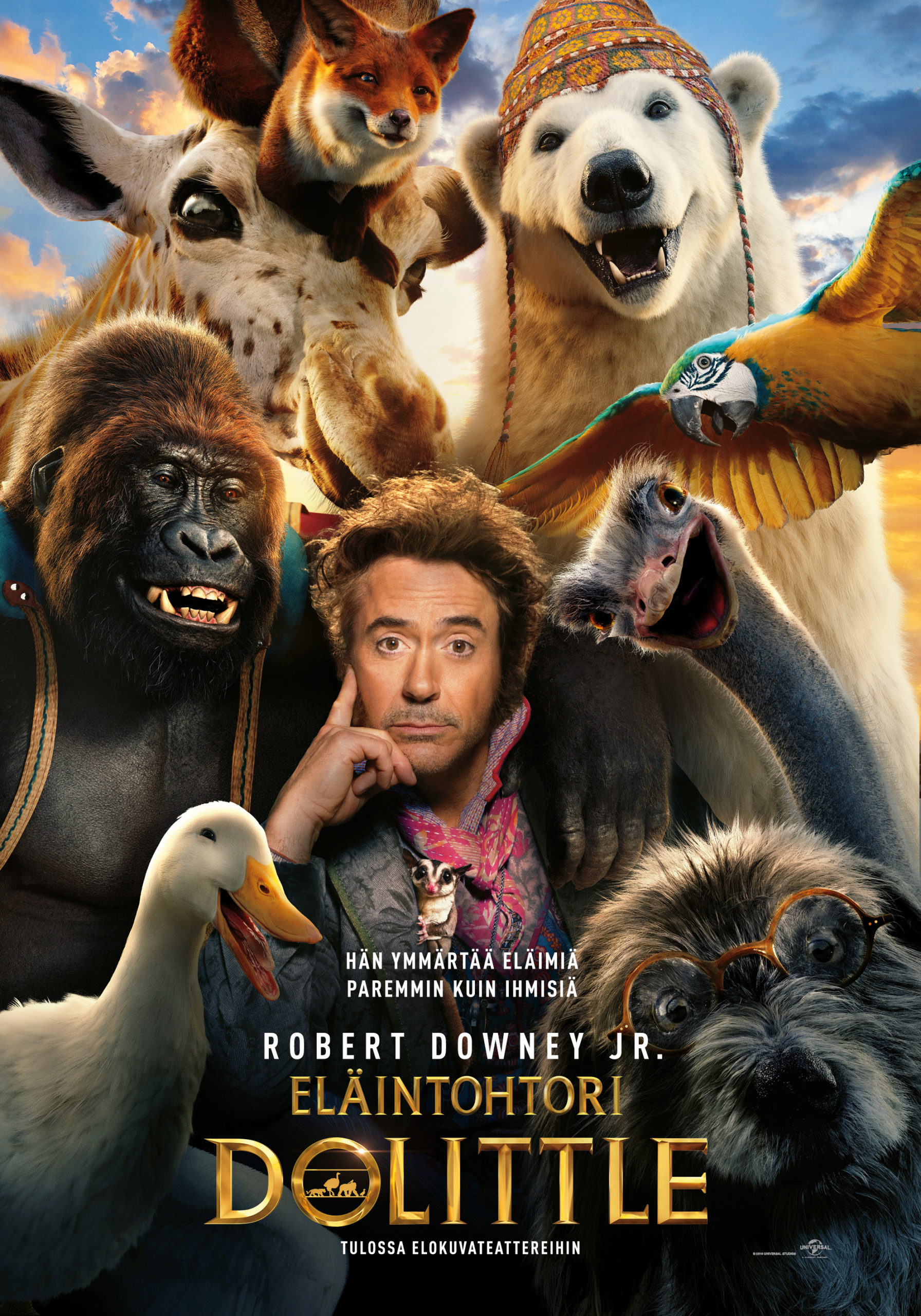 Lastenkirjallisuuden klassikkoon pohjautuva elokuva Eläintohtori Dolittle Kangasala-talon K-Kinossa tammikuussa 2020.