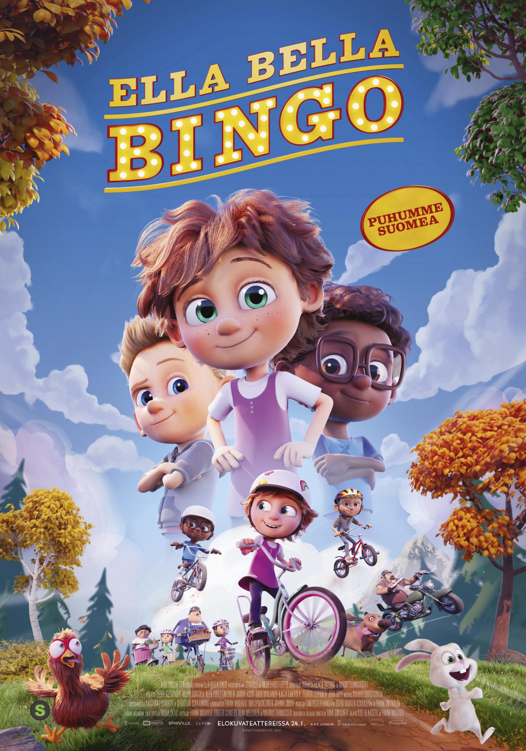 Ystävyyden voimaan vannova koko perheen elokuva Ella Bella Bingo Kangasala-talon K-Kinossa tammikuussa 2020.