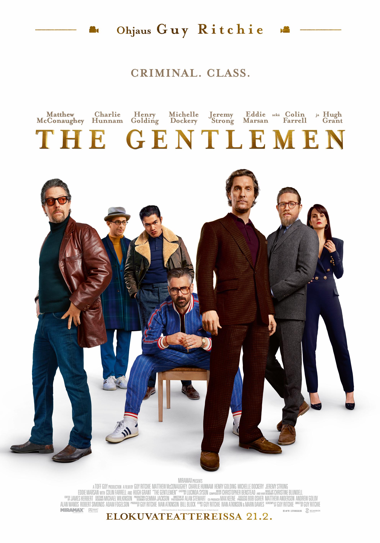 Huikealla tähtikaartilla varustettu, piinkova toimintakomedia The Gentlemen Kangasala-talon K-Kinossa helmikuussa 2020.