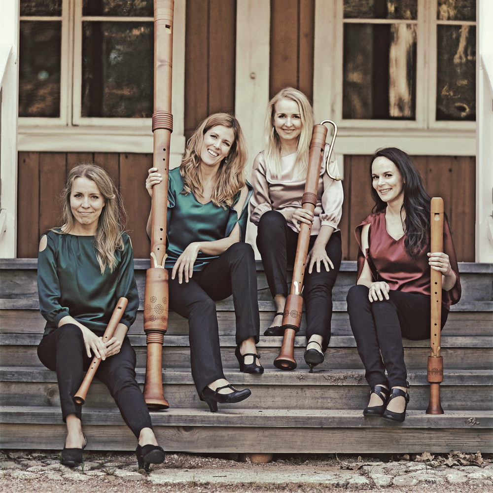 Bravade-nokkahuilukvartetti Kangasala-talossa 20.4.2021.